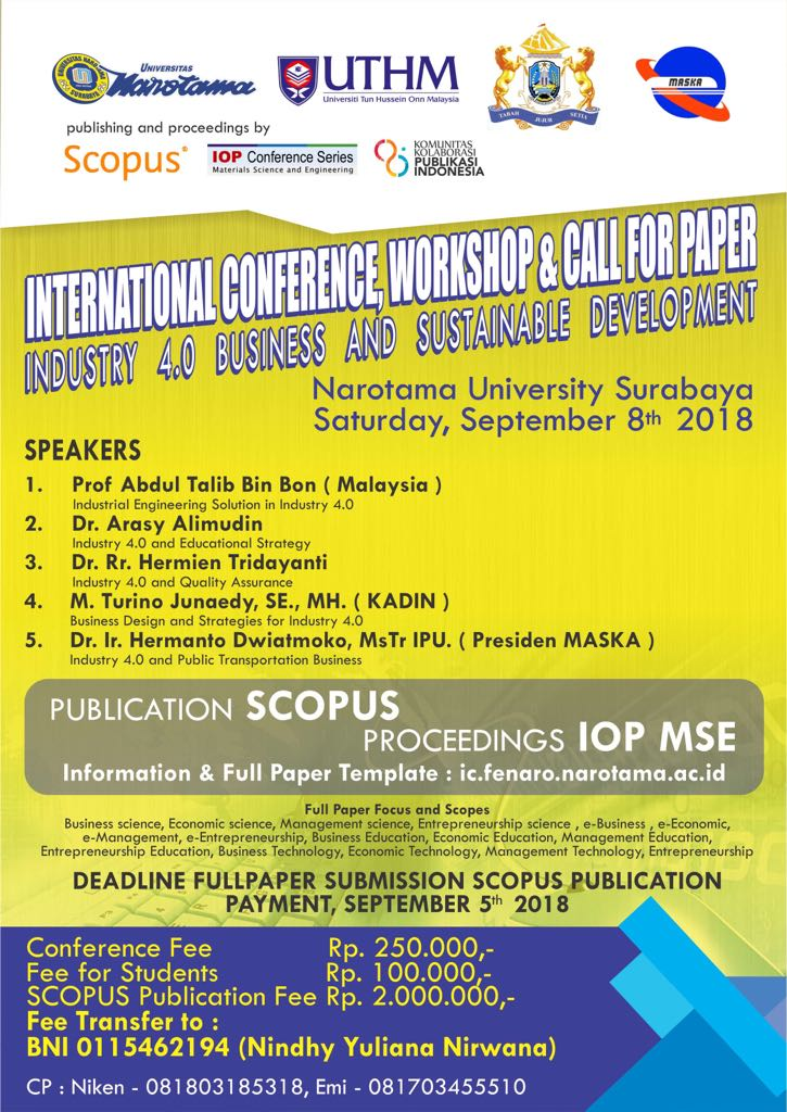 International Conference, Workshop & Call For Paper Narotama University Surabaya