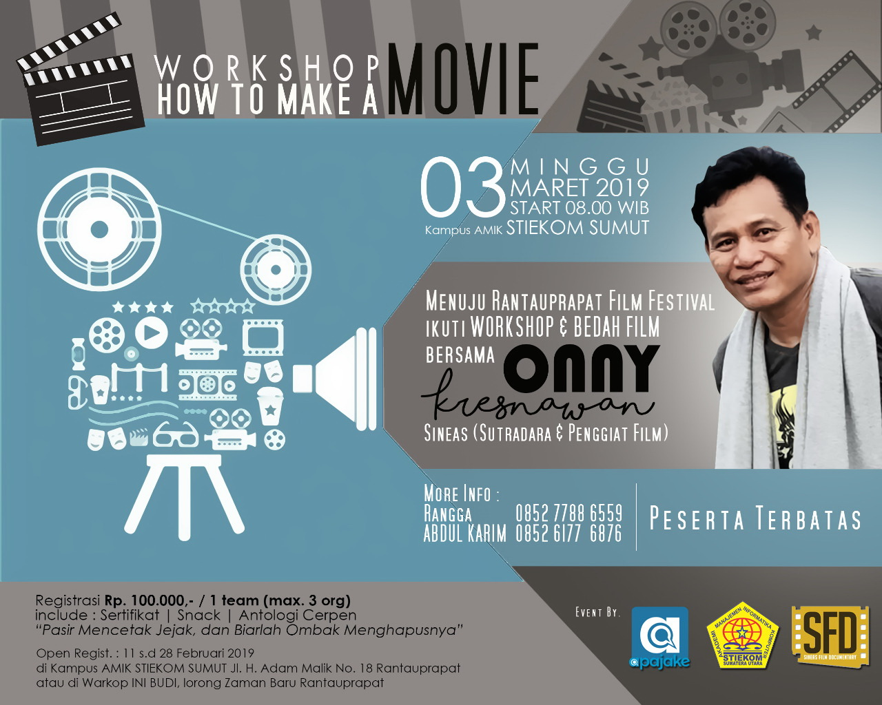 AMIK STIEKOM Sumatera Utara Bekerja Sama Dengan Apajake.Com Membuat Workshop Film: HOW TO MAKE A MOVIE